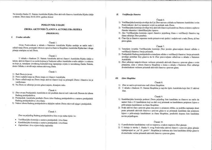 POSLOVNIK O RADU ZBORA AKTIVNIH ČLANOVA AK RIJEKA 1 (1)