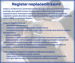 D. Registar neplaćenih kazni